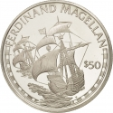 50 Dollars 1988, KM# 64, Cook Islands, Elizabeth II, Great Explorers, Ferdinand Magellan