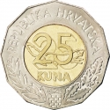 25 Kuna 1997, KM# 47, Croatia, Reintegration of Srem-Baranja Oblast in Croatia