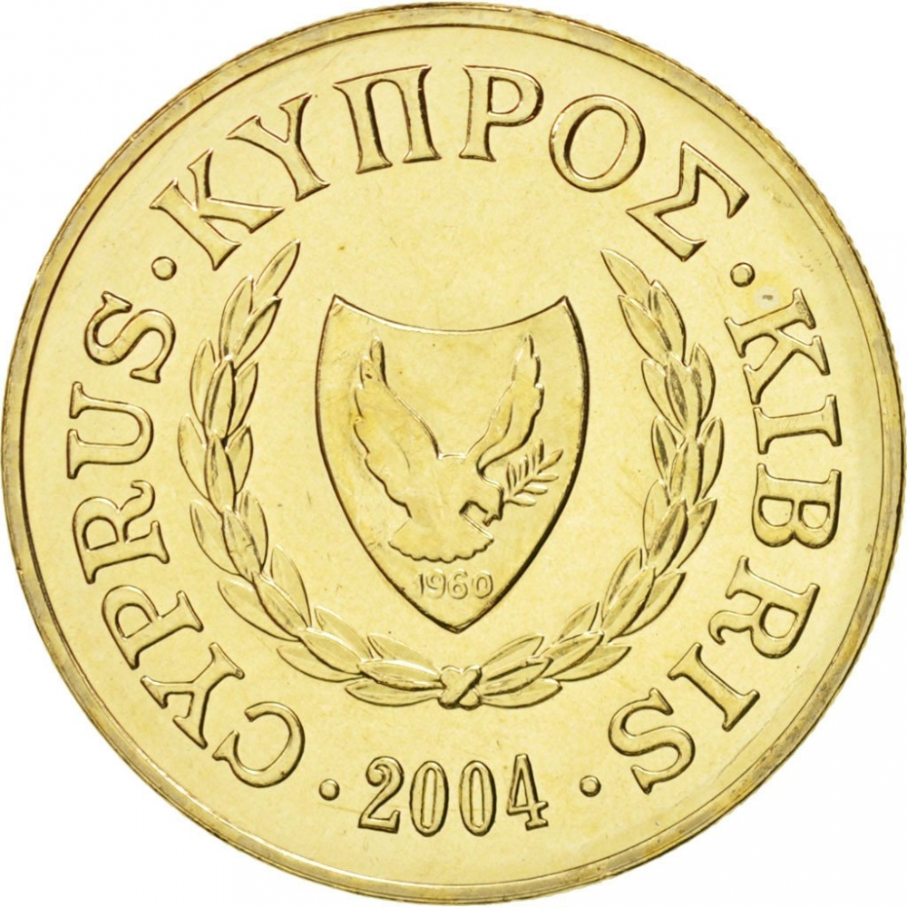 10 Cents 1983-2004, KM# 56, Cyprus, New coat of arms (KM# 56.3)