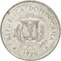 25 Centavos 1989-1991, KM# 71, Dominican Republic