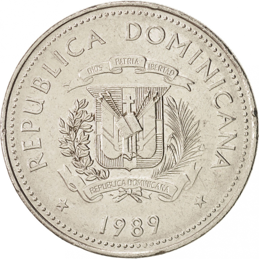 1/2 Peso 1989-1990, KM# 73, Dominican Republic, Native Culture