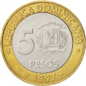 5 Pesos 1997, KM# 88, Dominican Republic, 50th Anniversary of Central Bank