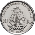 10 Cents 2009-2019, KM# 37a, East Caribbean States