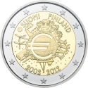 2 Euro 2012, KM# 178, Finland, Republic, 10th Anniversary of Euro Coins and Banknotes