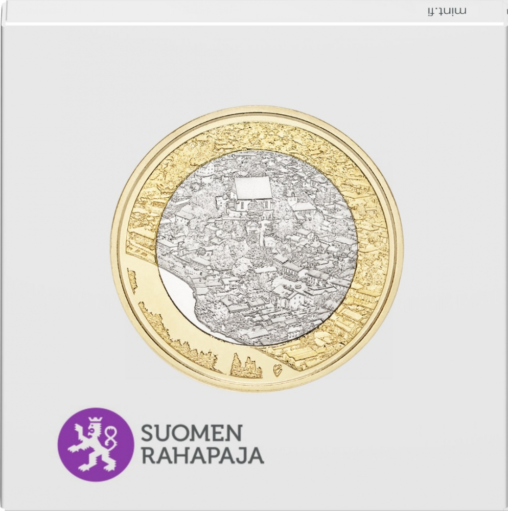 5 Euro 2018, Finland, Republic, Finnish National Landscapes, Porvoonjoki River Valley and Old Porvoo, Paper coin envelope (front)