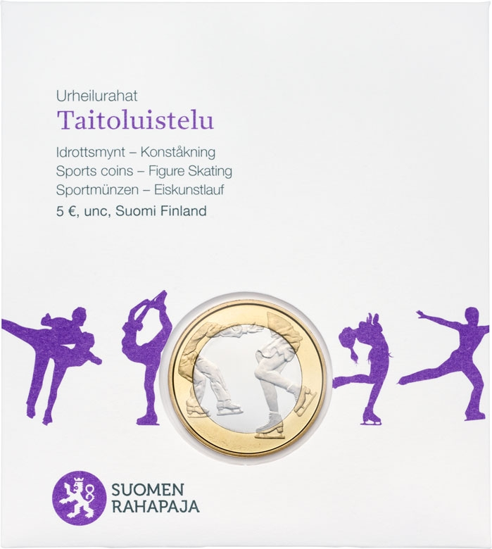 5 Euro 2015, KM# 235, Finland, Republic, Sports, Figure Skating, Paper coin envelope