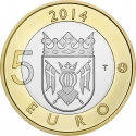 5 Euro 2014, KM# 210, Finland, Republic, Animals of the Provinces, Finland Proper's Fox