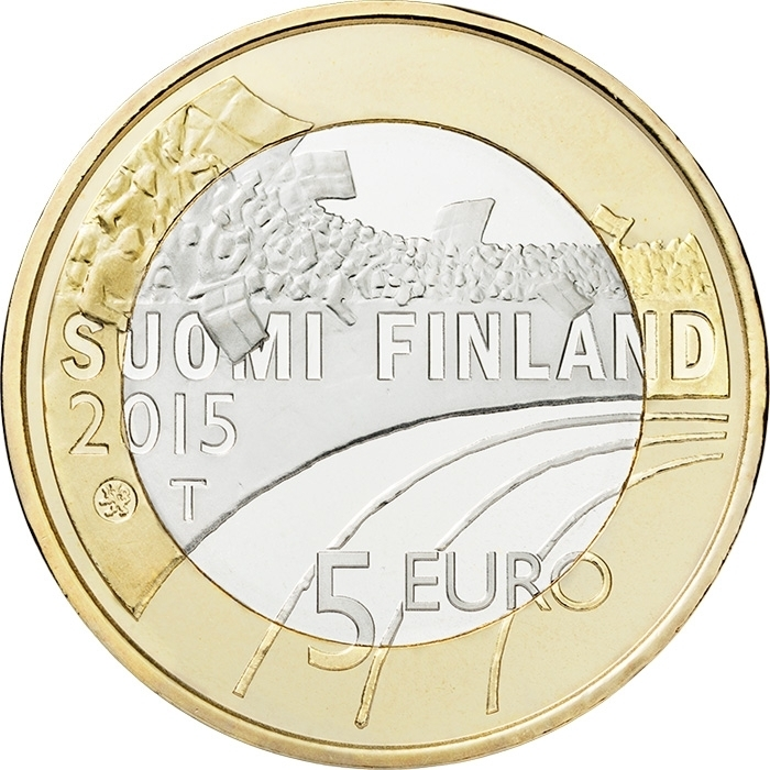 5 Euro 2015, KM# 236, Finland, Republic, Sports, Gymnastics