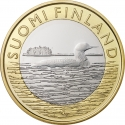 5 Euro 2014, KM# 208, Finland, Republic, Animals of the Provinces, Savonia's Black-throated Loon