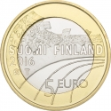 5 Euro 2016, KM# 245, Finland, Republic, Sports, Ski Jumping