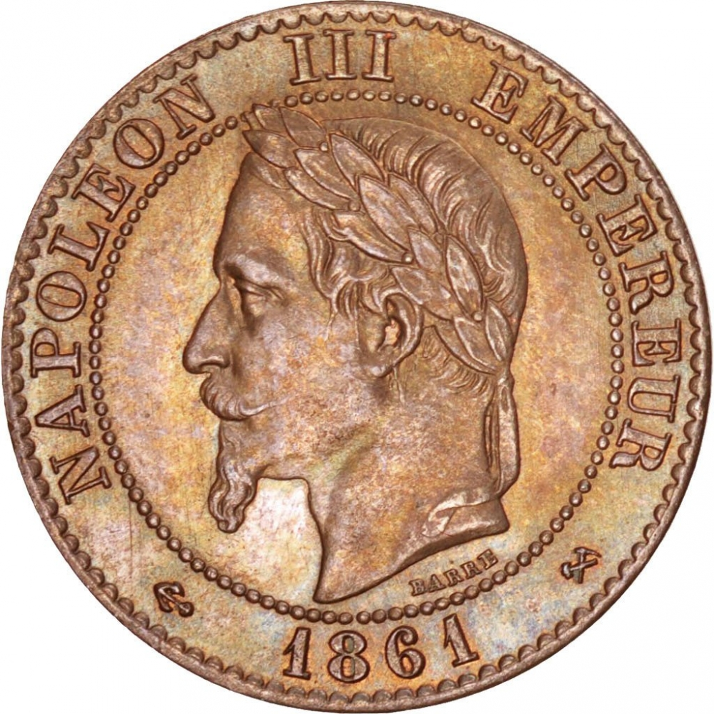 2 Centimes 1861-1862, KM# 796, France, Napoleon III, Neck points to 1