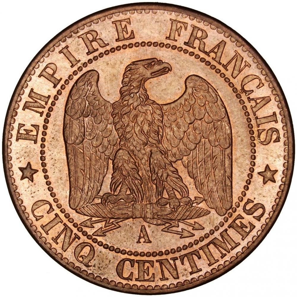 5 Centimes 1861-1865, KM# 797, France, Napoleon III