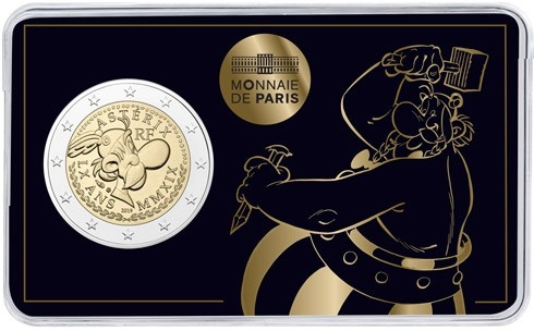 2 Euro 2019, France, 60th Anniversary of Asterix, Coincard (BU) Nr. 2: Obelix