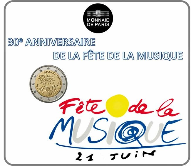 2 Euro 2011, KM# 1789, France, 30th Anniversary of the World Music Day, Coincard
