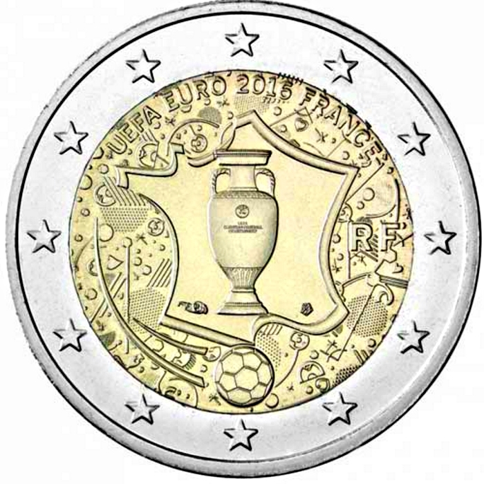 2 Euro 2016, Schön# 1578, France, 2016 Football (Soccer) Euro Cup in France