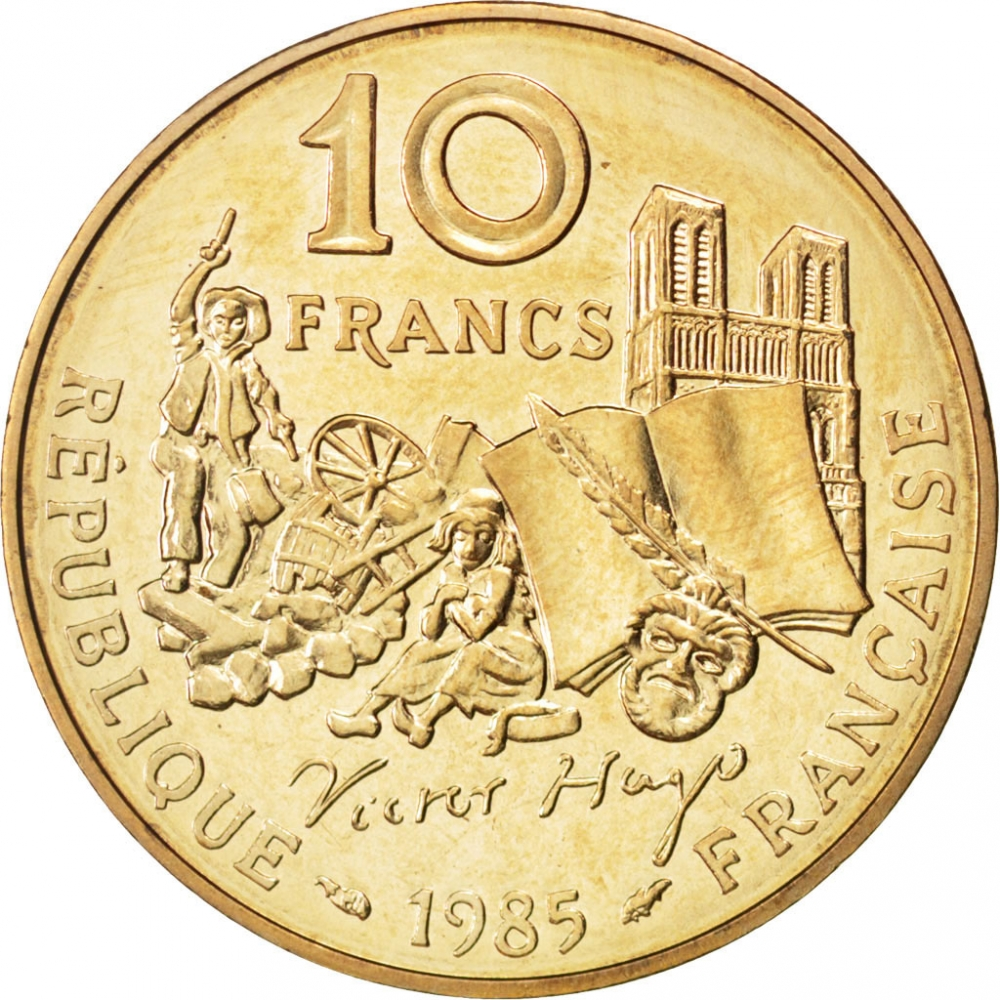10 Francs 1985, KM# 956, France, 100th Anniversary of Death of Victor Hugo