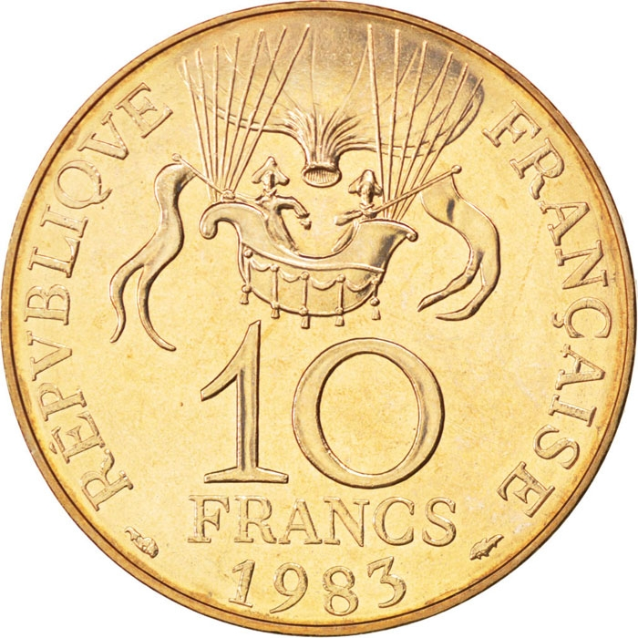 10 Francs 1983, KM# 952, France, 200th Anniversary of the Montgolfier Balloon