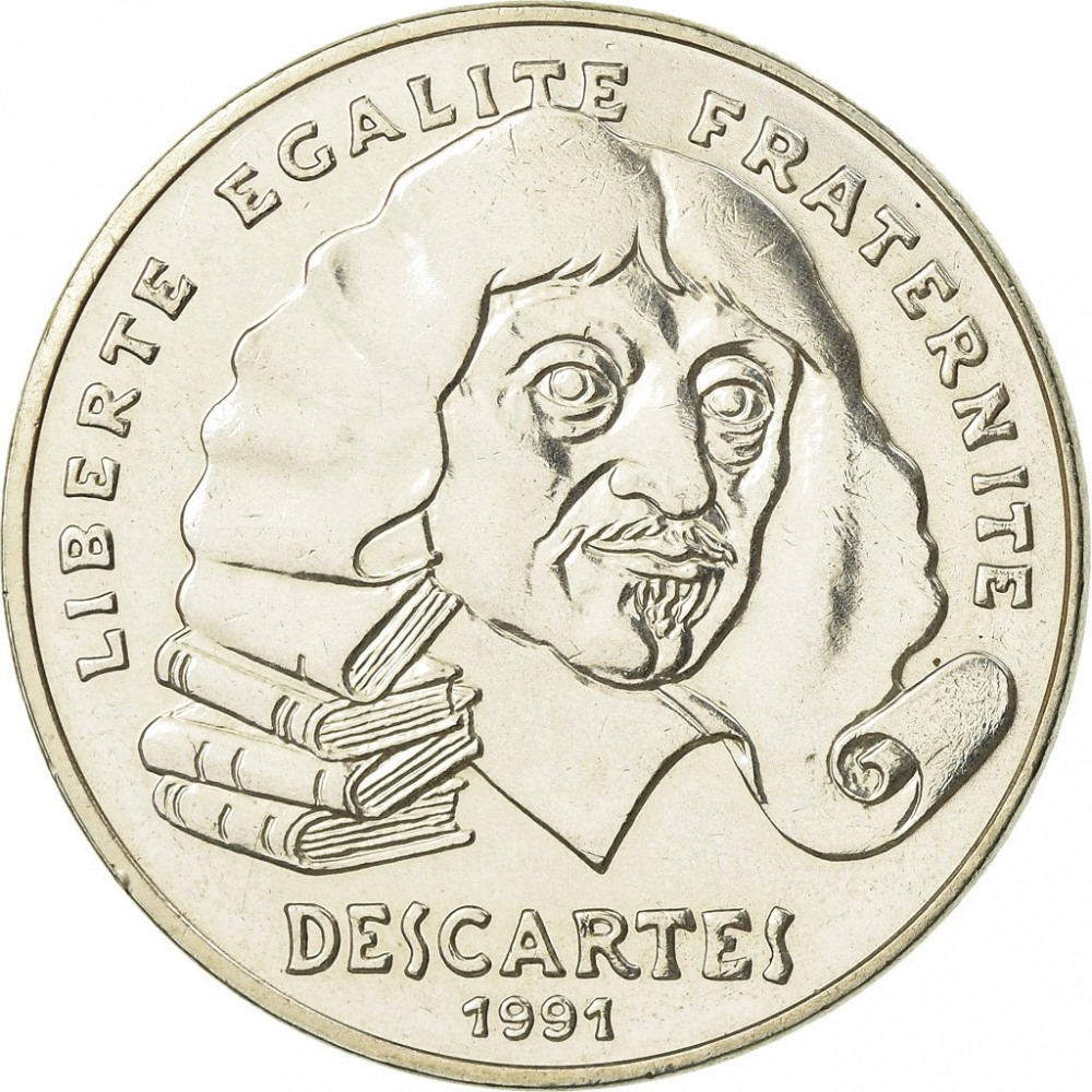 100 Francs 1991, KM# 996, France, 395th Anniversary of Birth of René Descartes