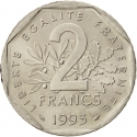 2 Francs 1993, KM# 1062, France, 50th Anniversary of the French Resistance, Jean Moulin