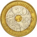 20 Francs 1994, KM# 1036, France, 100th Anniversary of the International Olympic Committee, Pierre de Coubertin