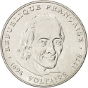 5 Francs 1994, KM# 1063, France, 300th Anniversary of Birth of Voltaire