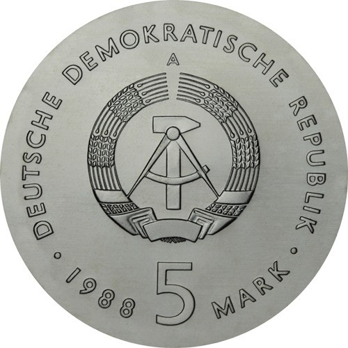 5 Mark 1988, KM# 122, Germany, Democratic Republic (DDR), 50th Anniversary of Death of Ernst Barlach