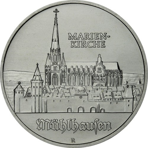 5 Mark 1989, KM# 130, Germany, Democratic Republic (DDR), 500th Anniversary of Birth of Thomas Müntzer, Marienkirche in Mühlhausen