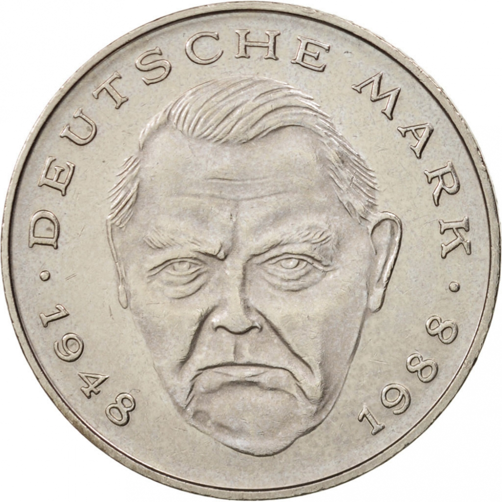 2 Deutsche Mark 1988-2001, KM# 170, Germany, Federal Republic, Anniversary of the Federal Republic of Germany, 40th Anniversary of the Deutsche Mark
