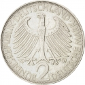 2 Deutsche Mark 1957-1971, KM# 116, Germany, Federal Republic, Max Planck