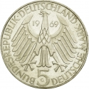 5 Deutsche Mark 1969, KM# 125, Germany, Federal Republic, 150th Anniversary of Birth of Theodor Fontane