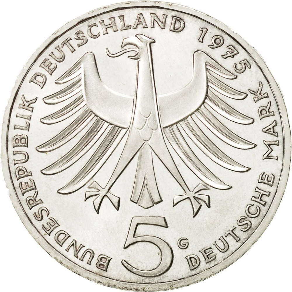 5 Deutsche Mark 1975, KM# 143, Germany, Federal Republic, 100th Anniversary of Birth of Albert Schweitzer