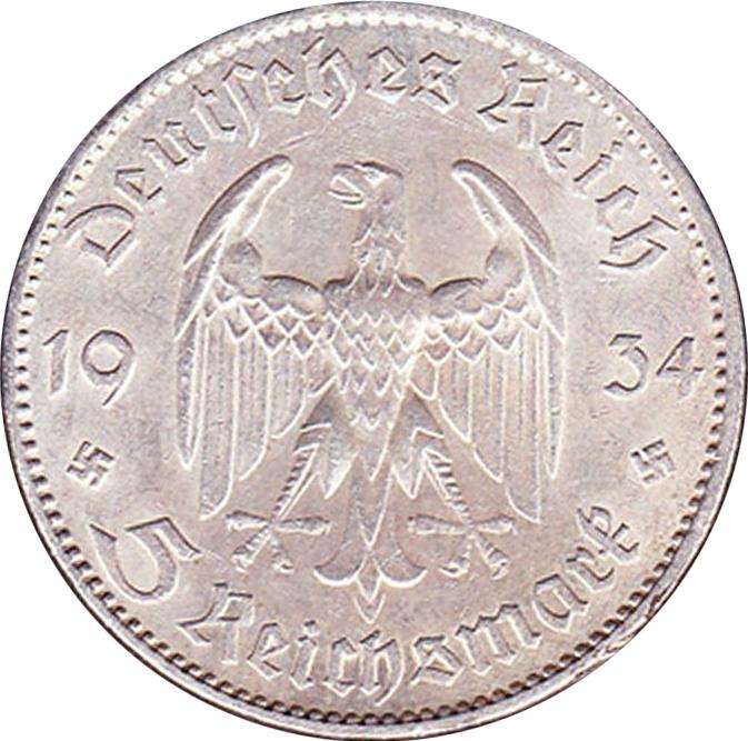5 Reichsmark Germany Nazi Third Reich 1934 1935 Km 83