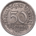 50 Pfennig 1919-1922, KM# 27, Germany, Weimar Republic