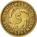 5 Reichspfennig 1924-1936, KM# 39, Germany, Weimar Republic