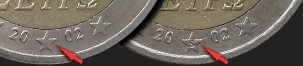 2 Euro 2002-2006, KM# 188, Greece, 2002: S mark in star for the Mint of Finland