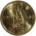 10 Cents 1997, KM# 72, Hong Kong, Transfer of Sovereignty