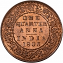 1/4 Anna 1906-1910, KM# 502, India, British (British Raj), Edward VII