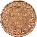 1/4 Anna 1938-1940, KM# 530, India, British (British Raj), George VI