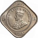 2 Annas 1918-1936, KM# 516, India, British (British Raj), George V