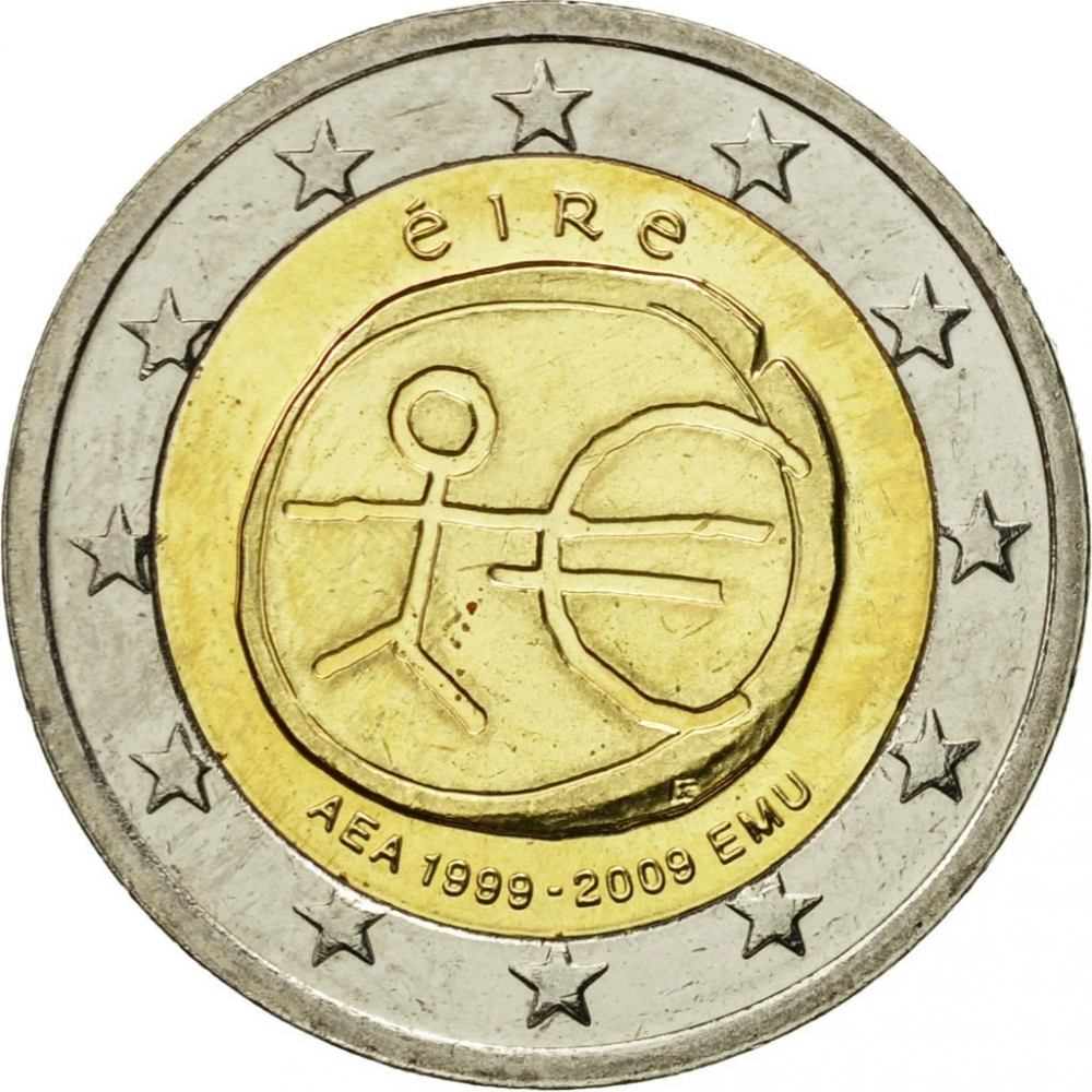 2 Euro 2009, KM# 62, Ireland, 10th Anniversary of the European Monetary Union and the Introduction of the Euro