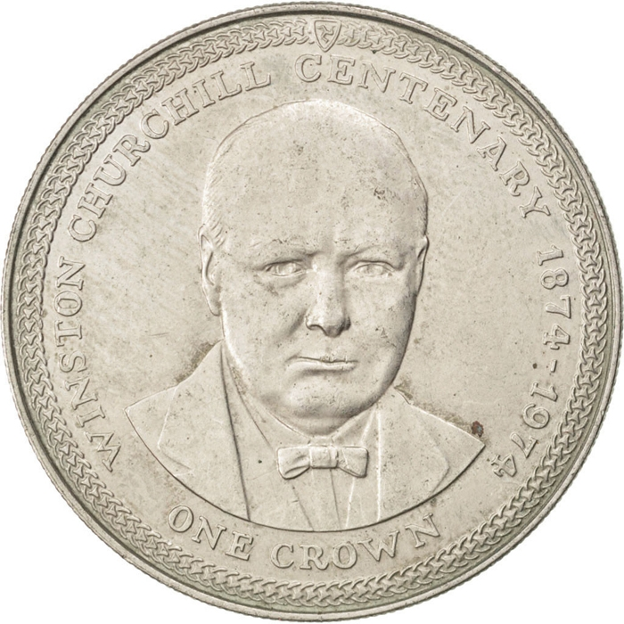 1 Crown 1974, KM# 30, Isle of Man, Elizabeth II, 100th Anniversary of Winston Churchill