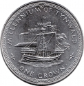 1 Crown 1979, KM# 47, Isle of Man, Elizabeth II, Millennium of Tynwald, English Cog and Castle Rushen