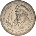1 Crown 1981, KM# 80, Isle of Man, Elizabeth II, International Year of Disabled Persons, Francis Chichester