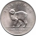 1 Crown 1970, KM# 18, Isle of Man, Elizabeth II, Cats, Manx Cat