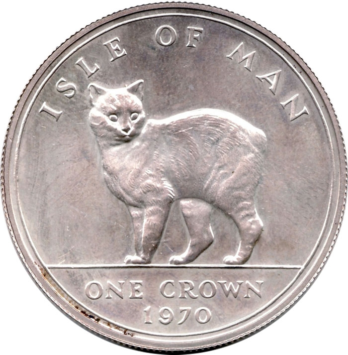 1 Crown 1970, KM# 18a, Isle of Man, Elizabeth II, Cats, Manx Cat