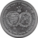 1 Crown 1981, KM# 81, Isle of Man, Elizabeth II, Wedding of Prince Charles and Lady Diana, Coat of Arms