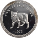 25 Pence 1975, KM# 31a, Isle of Man, Elizabeth II, Cats, Manx Cat