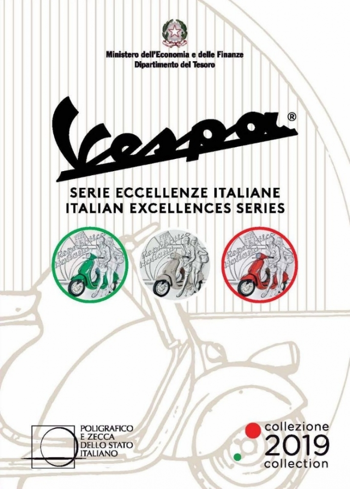 5 Euro 2019, Italy, 75th Anniversary of the Vespa, White, Three-coin set in a custom presentation