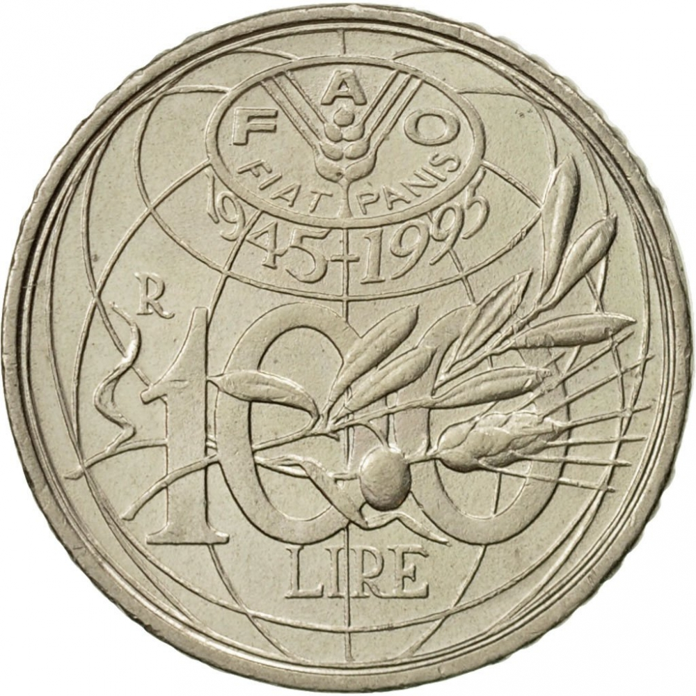 100 Lire 1995, KM# 180, Italy, Food and Agriculture Organization (FAO)