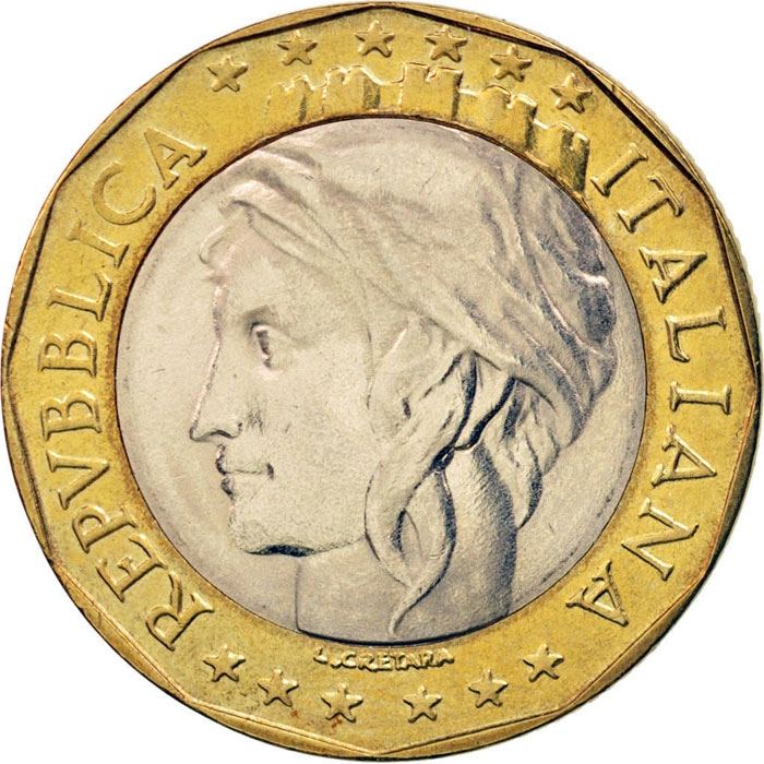 1000 Lire 1997-2001, KM# 194, Italy, European Union
